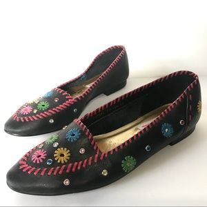 Vintage LJ Simone Womens Size 9 Shoes Embroidered